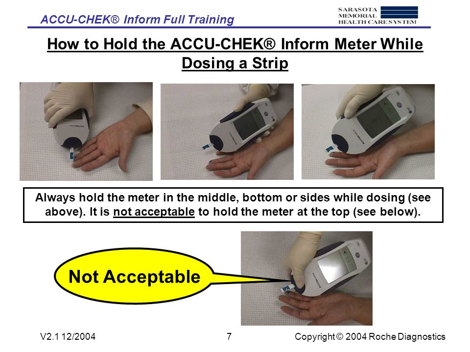 ACCU-CHEK® Inform Full Training Copyright © 2004 Roche DiagnosticsV2.1 12/20046 How to Dose the ACCU-CHEK® Comfort Curve™ Test Strip Lance the side of the finger, wipe off the first drop of blood with dry gauze.