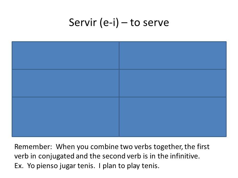 Servir (e-i) – to serve Yo sirvo I serve Nosotros servimos We serve Tú sirves You (fam.) serve Vosotros(as) servís You all (fam) serve Él/Ella/Ud. sir