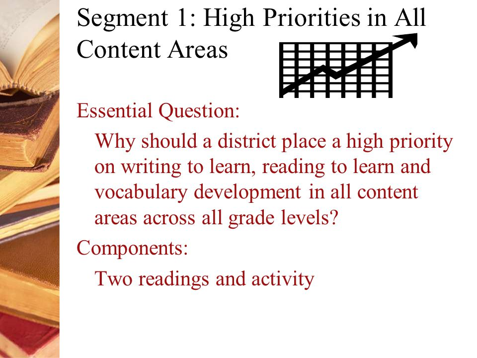 Segment 1: High Priorities in All Content Areas Essential Question: Why should a district place a high priority on writing to learn, reading to learn and vocabulary development in all content areas across all grade levels.
