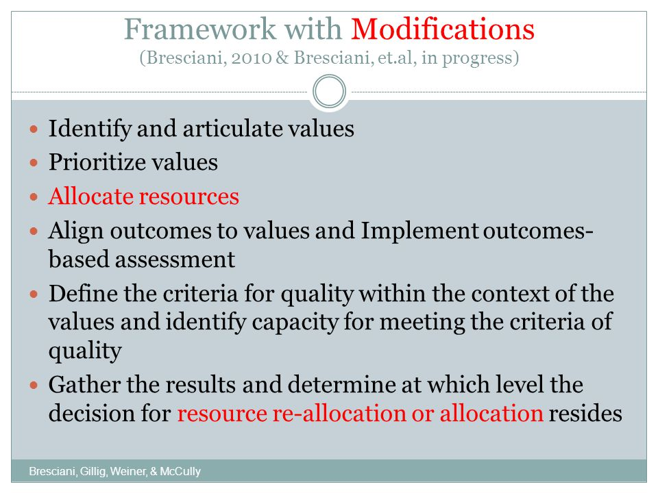 Framework with Modifications (Bresciani, 2010 & Bresciani, et.al, in progress) Identify and articulate values Prioritize values Allocate resources Align outcomes to values and Implement outcomes- based assessment Define the criteria for quality within the context of the values and identify capacity for meeting the criteria of quality Gather the results and determine at which level the decision for resource re-allocation or allocation resides Bresciani, Gillig, Weiner, & McCully