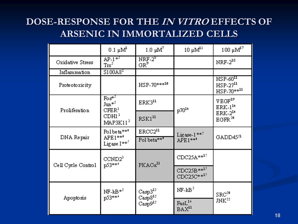 18 DOSE-RESPONSE FOR THE IN VITRO EFFECTS OF ARSENIC IN IMMORTALIZED CELLS