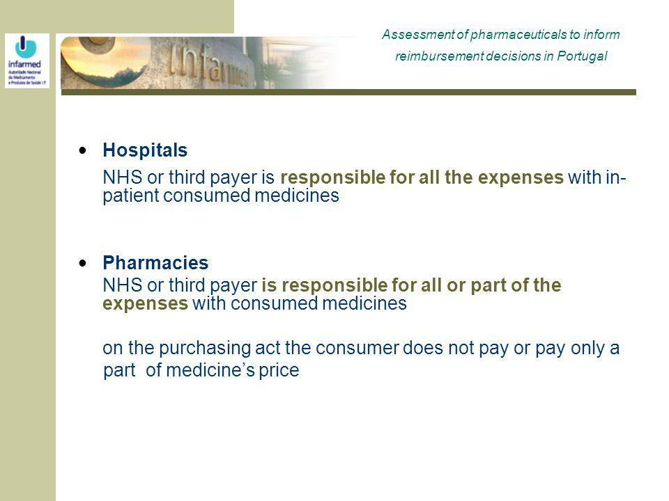 Hospitals NHS or third payer is responsible for all the expenses with in- patient consumed medicines Pharmacies NHS or third payer is responsible for