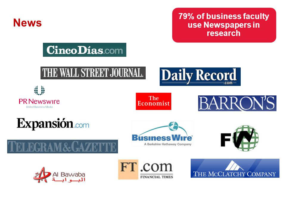 News 79% of business faculty use Newspapers in research
