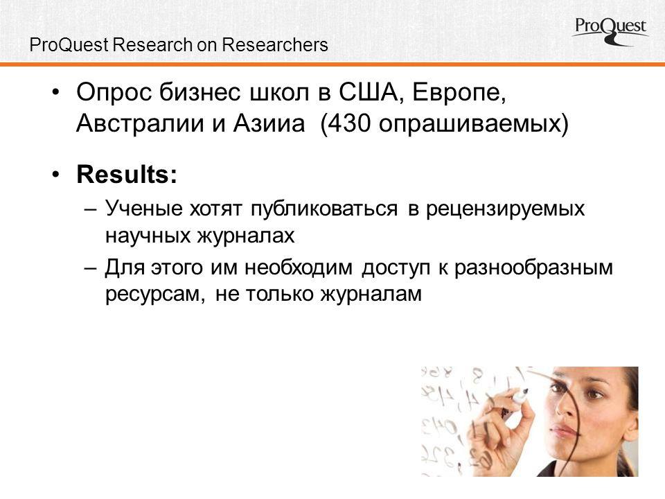 ProQuest Research on Researchers Опрос бизнес школ в США, Европе, Австралии и Азииa (430 опрашиваемых) Results: –Ученые хотят публиковаться в рецензируемых научных журналах –Для этого им необходим доступ к разнообразным ресурсам, не только журналам