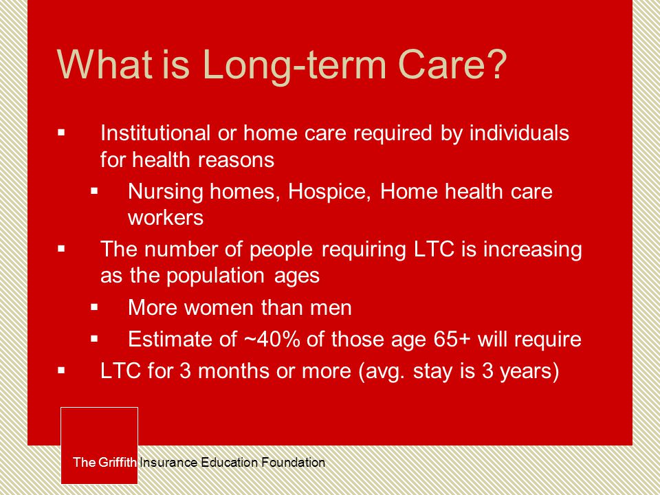 Issues with LTC  Decreased availability of informal care  Dispursion of family, fewer children, more dual career couples  Increasing costs  Complexity of care, medical cost inflation, rising labor costs, malpractice costs  Home nursing care—AFAM The Griffith Insurance Education Foundation