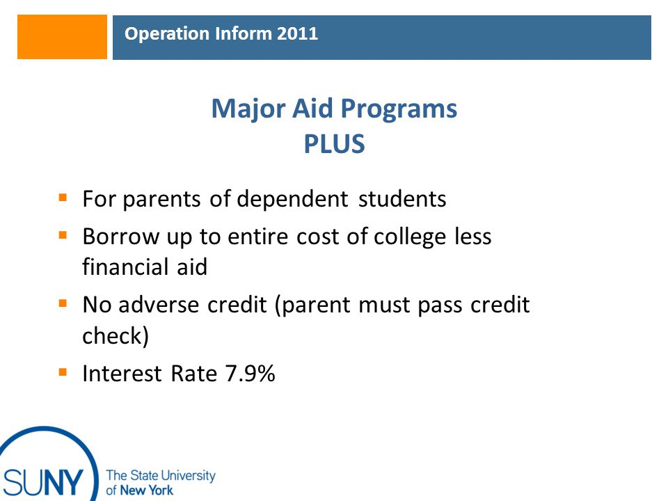 Operation Inform 2011 Major Aid Programs PLUS  For parents of dependent students  Borrow up to entire cost of college less financial aid  No adverse credit (parent must pass credit check)  Interest Rate 7.9%