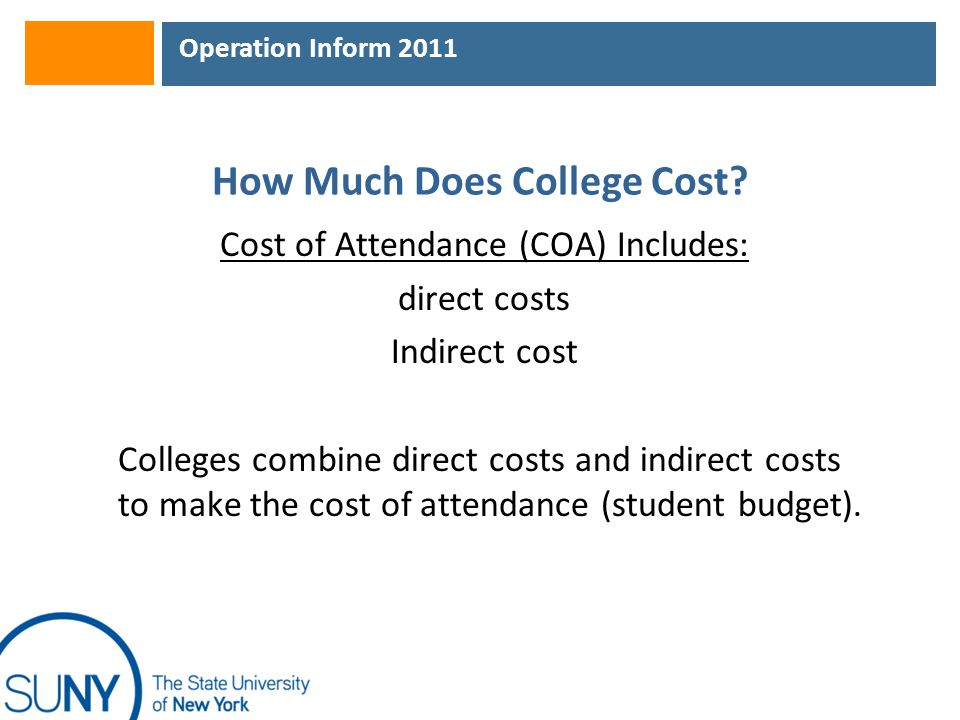 Operation Inform 2011 How Much Does College Cost? Cost of Attendance (COA) Includes: direct costs Indirect cost Colleges combine direct costs and indi