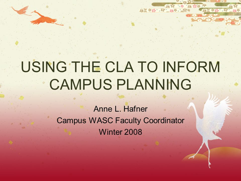 USING THE CLA TO INFORM CAMPUS PLANNING Anne L. Hafner Campus WASC Faculty Coordinator Winter 2008