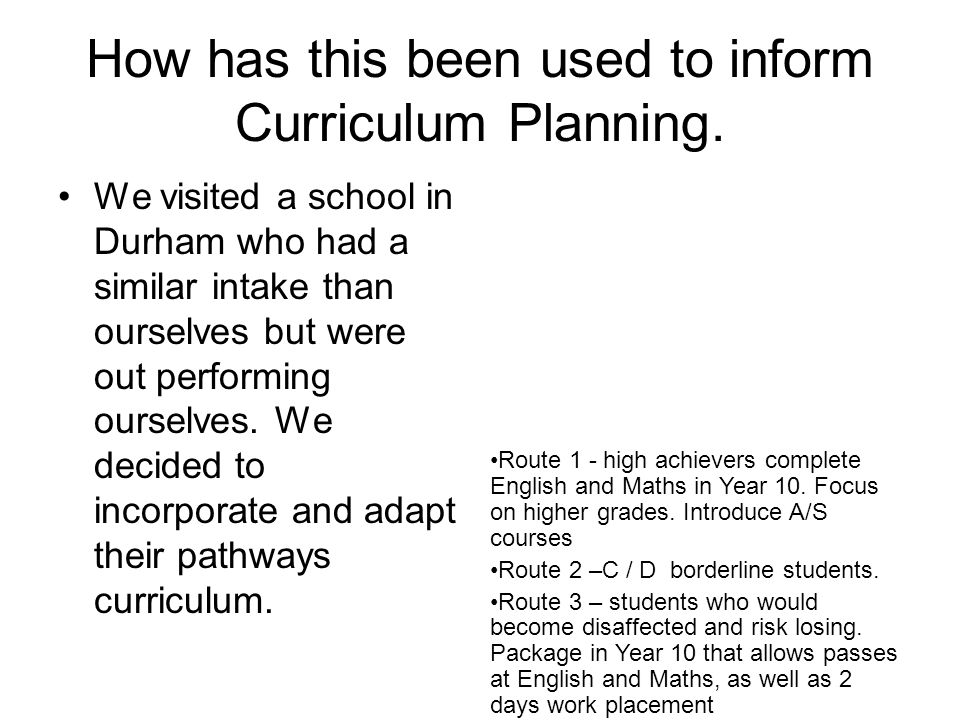 How has this been used to inform Curriculum Planning.