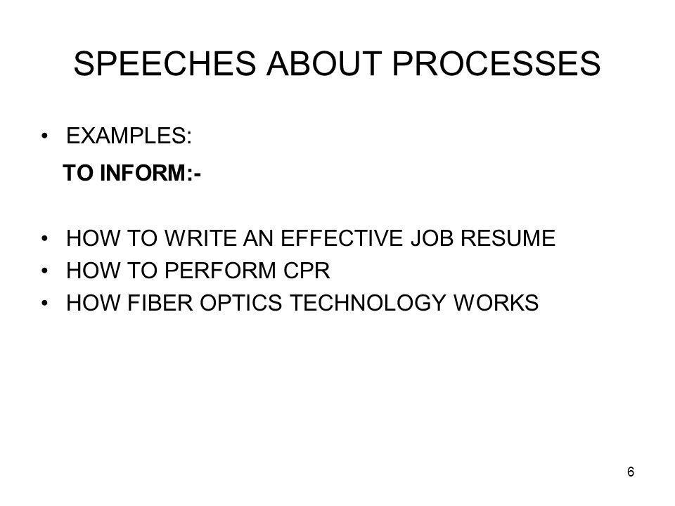6 SPEECHES ABOUT PROCESSES EXAMPLES: TO INFORM:- HOW TO WRITE AN EFFECTIVE JOB RESUME HOW TO PERFORM CPR HOW FIBER OPTICS TECHNOLOGY WORKS