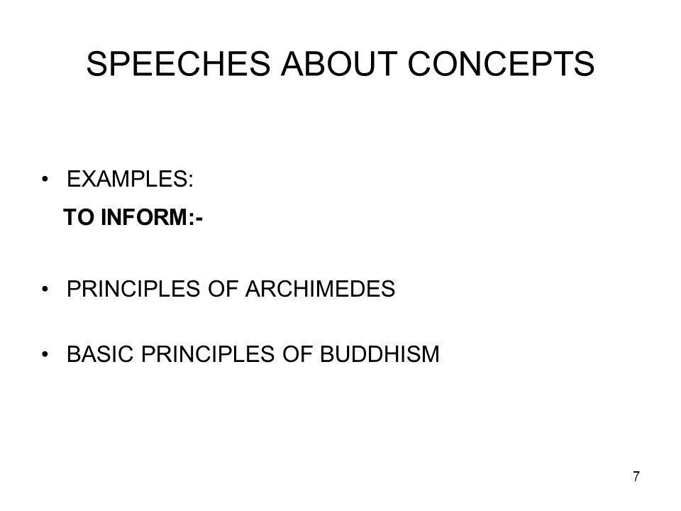 8 GUIDELINES FOR INFORMATIVE SPEECHES LIMIT AMOUNT OF INFO.