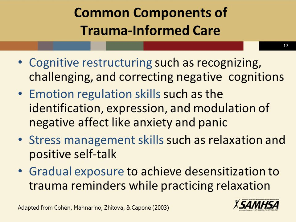 17 Common Components of Trauma-Informed Care Cognitive restructuring such as recognizing, challenging, and correcting negative cognitions Emotion regu