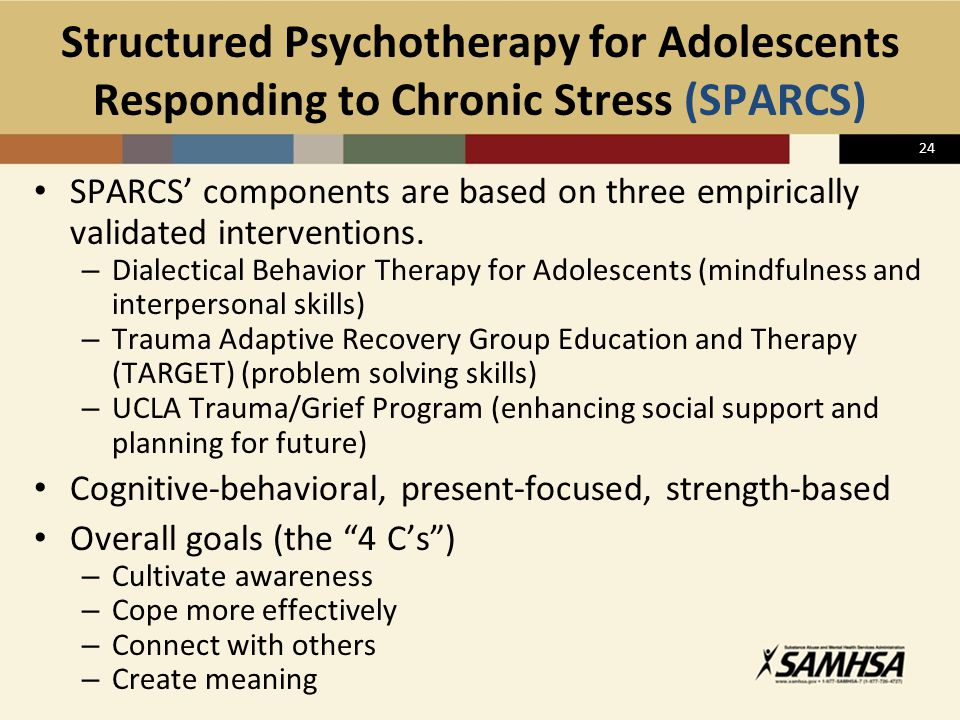 24 Structured Psychotherapy for Adolescents Responding to Chronic Stress (SPARCS) SPARCS' components are based on three empirically validated interven