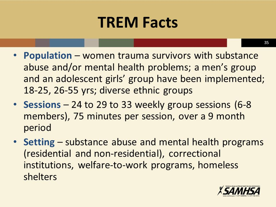 35 TREM Facts Population – women trauma survivors with substance abuse and/or mental health problems; a men's group and an adolescent girls' group hav