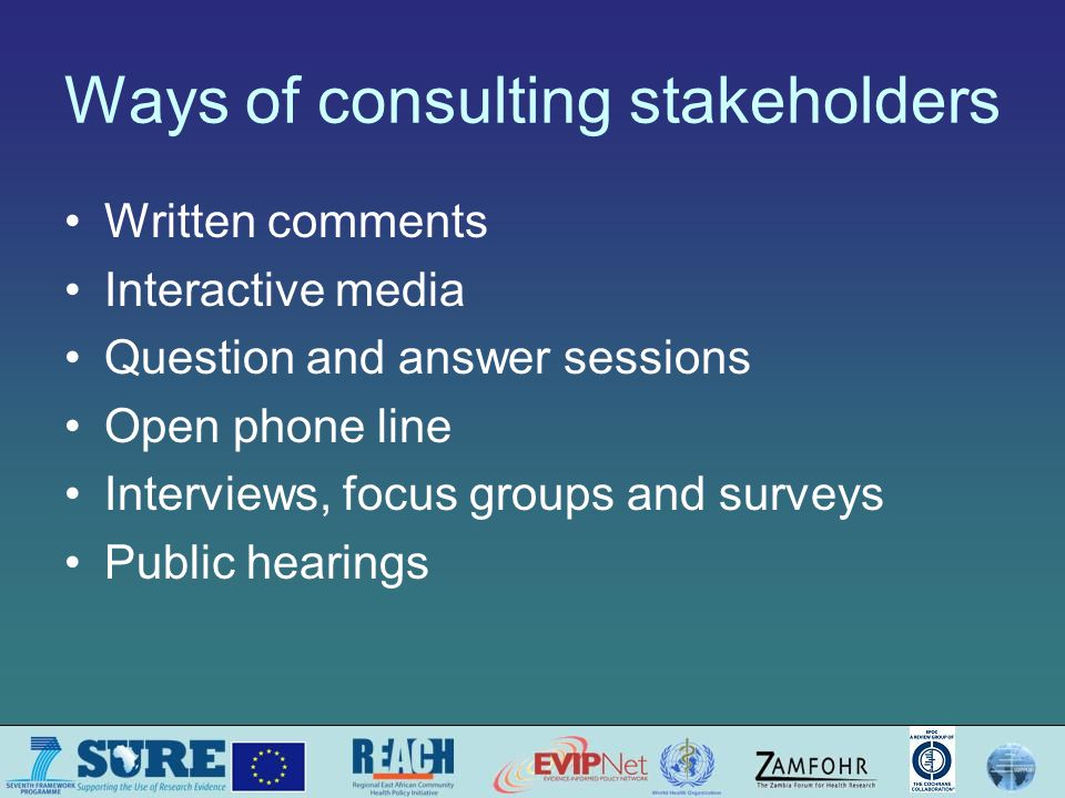 Ways of consulting stakeholders Written comments Interactive media Question and answer sessions Open phone line Interviews, focus groups and surveys Public hearings
