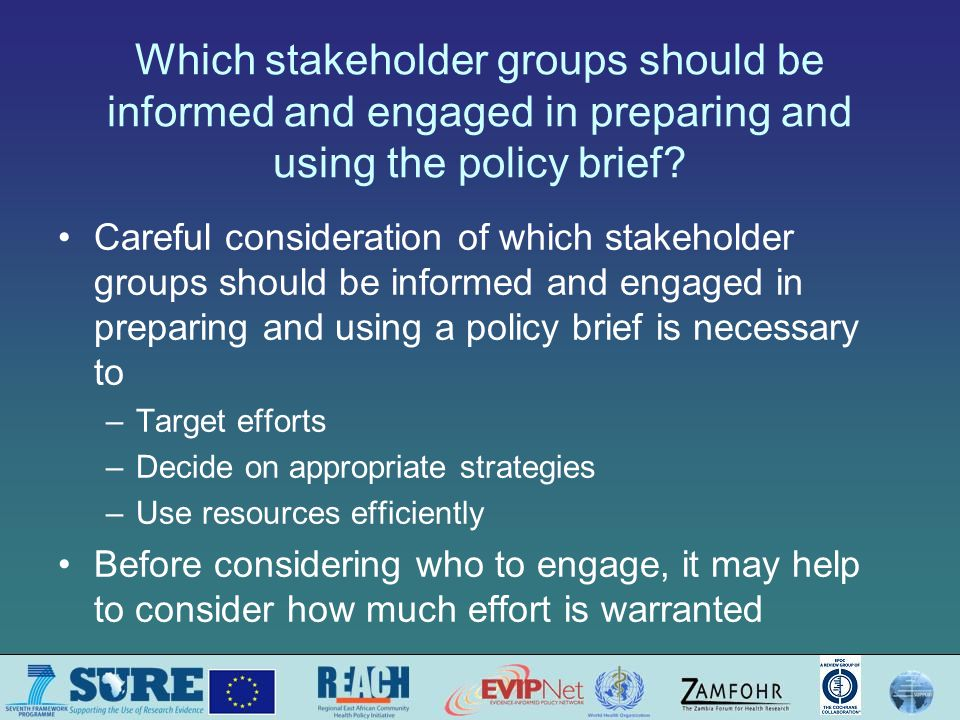 Questions or comments about deciding how different stakeholder groups will be engaged in preparing and using the policy brief?