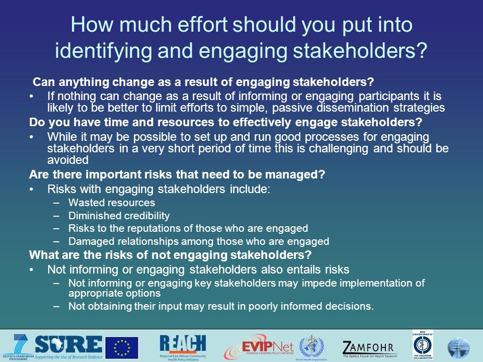Questions or comments about deciding which stakeholders to inform and engage?