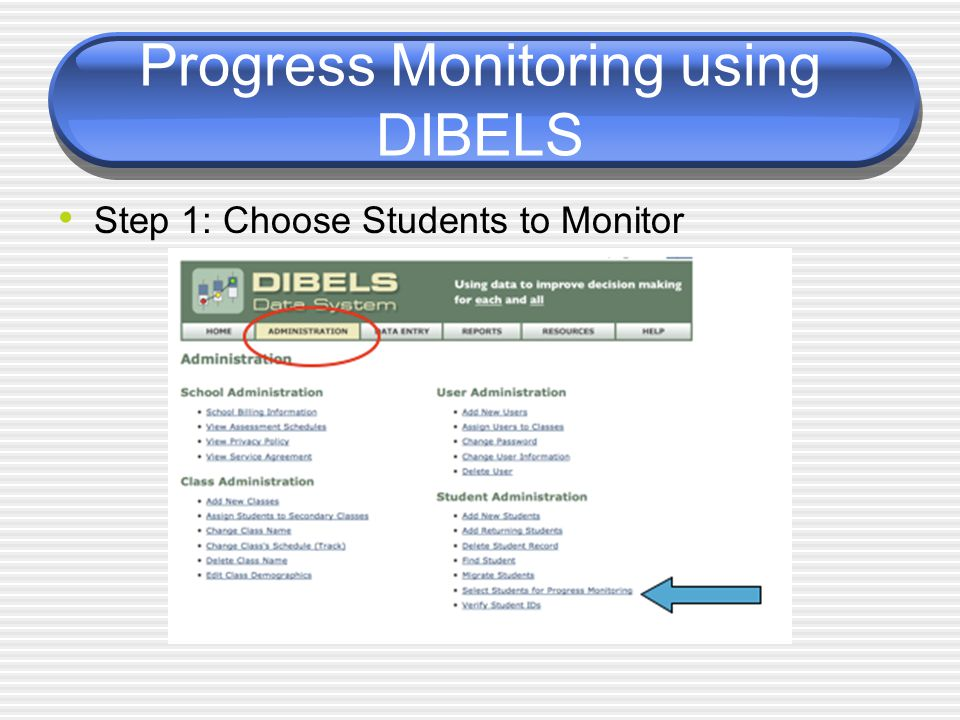 Progress Monitoring using DIBELS Step 1: Choose Students to Monitor