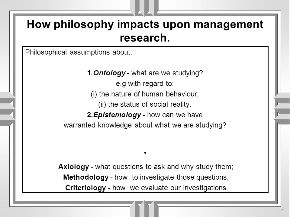 4 Philosophical assumptions about: 1.Ontology - what are we studying.