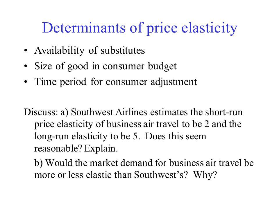 Price elasticity of demand Measures the sensitivity of quantity demanded to changes in demand factors The price elasticity of demand is given by (all