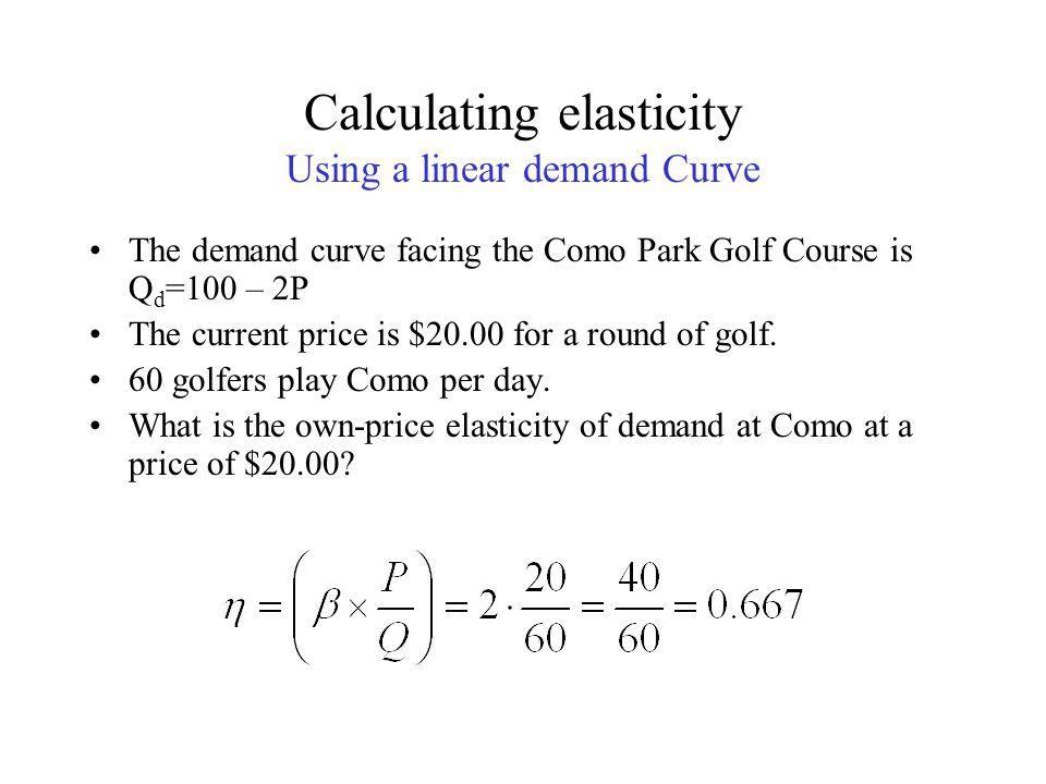 Calculating elasticity from a linear Demand Curve point price elasticity Information requirements Demand curve equation: Q=α-βP, β =  Q/  P Initial