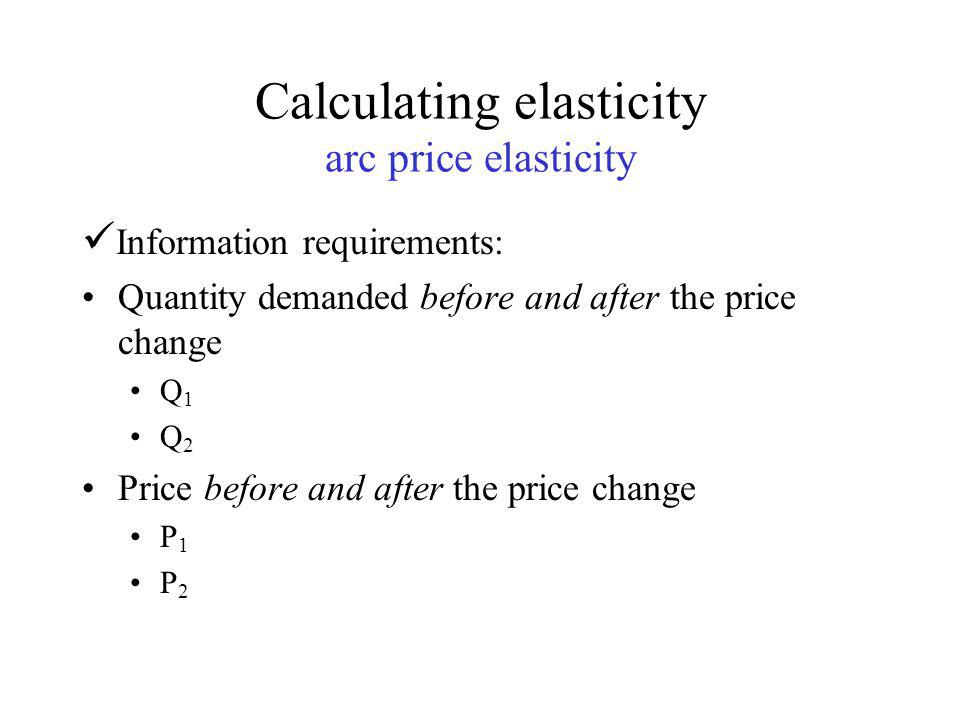 Calculating elasticity Using a linear demand Curve The demand curve facing the Como Park Golf Course is Q d =100 – 2P The current price is $20.00 for