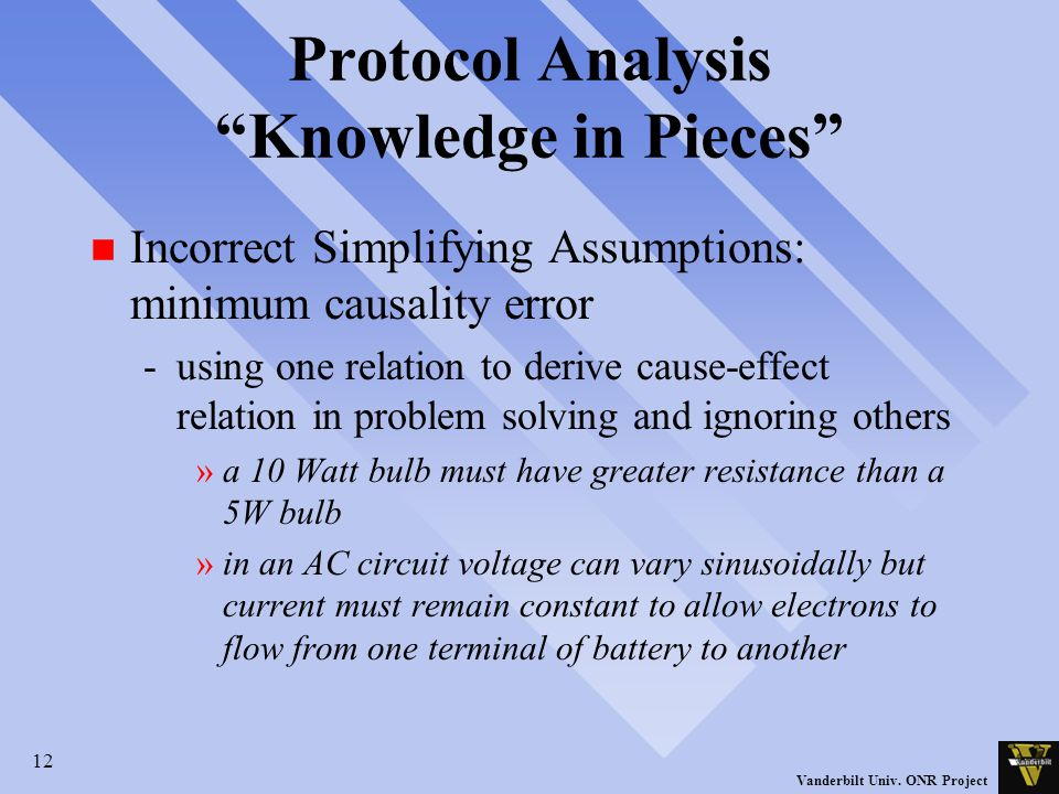 "12 Vanderbilt Univ. ONR Project Protocol Analysis ""Knowledge in Pieces"" n Incorrect Simplifying Assumptions: minimum causality error -using one relati"