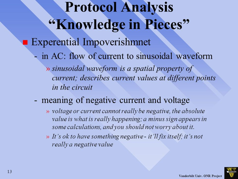 "13 Vanderbilt Univ. ONR Project Protocol Analysis ""Knowledge in Pieces"" n Experential Impoverishmnet -in AC: flow of current to sinusoidal waveform »s"