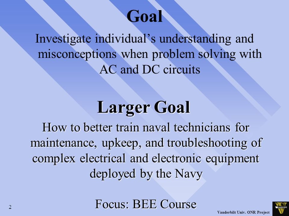 2 Vanderbilt Univ. ONR Project Goal Investigate individual's understanding and misconceptions when problem solving with AC and DC circuits Larger Goal