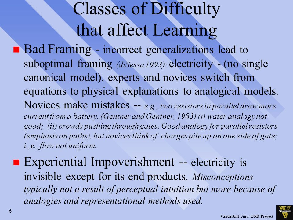 6 Vanderbilt Univ. ONR Project Classes of Difficulty that affect Learning n Bad Framing - incorrect generalizations lead to suboptimal framing (diSess