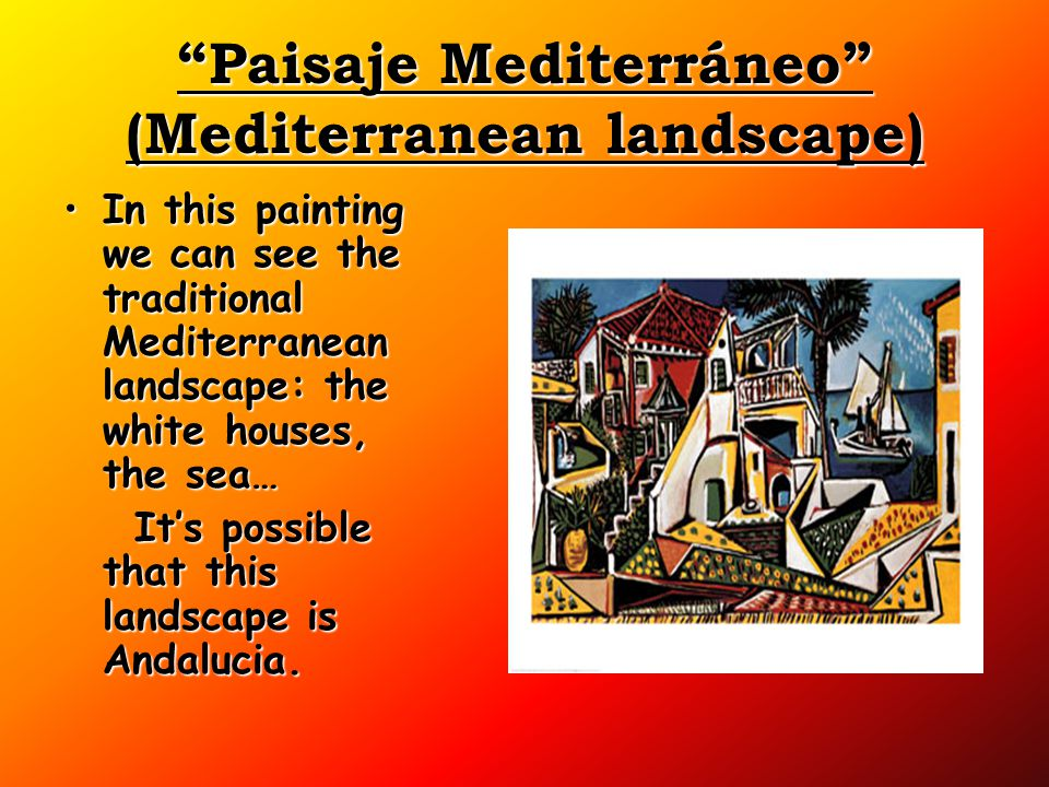 """Paisaje Mediterráneo"" (Mediterranean landscape) In this painting we can see the traditional Mediterranean landscape: the white houses, the sea…In thi"