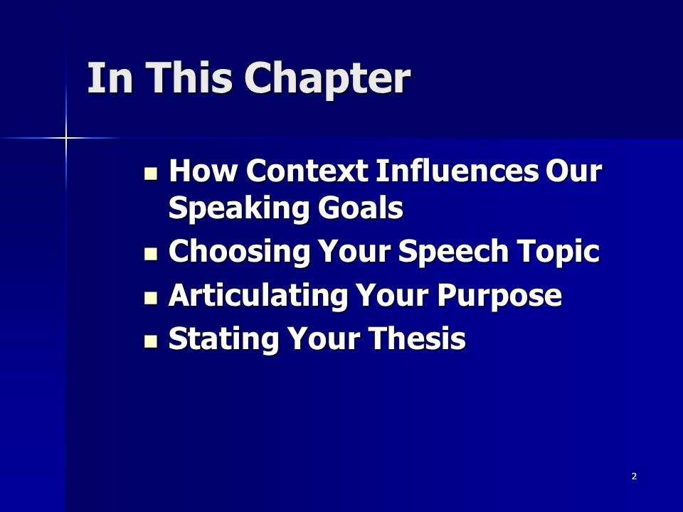2 In This Chapter How Context Influences Our Speaking Goals How Context Influences Our Speaking Goals Choosing Your Speech Topic Choosing Your Speech