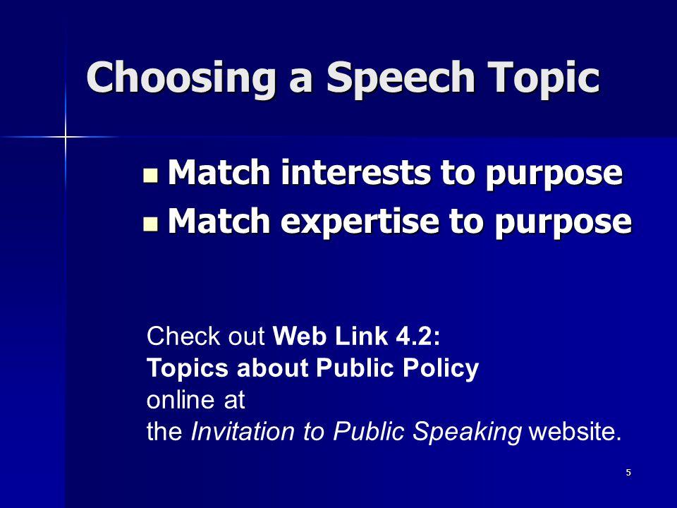 5 Choosing a Speech Topic Match interests to purpose Match interests to purpose Match expertise to purpose Match expertise to purpose Check out Web Li