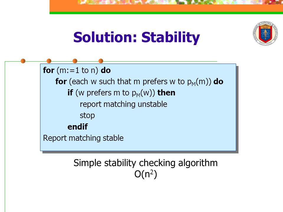 Solution: Stability for (m:=1 to n) do for (each w such that m prefers w to p M (m)) do if (w prefers m to p M (w)) then report matching unstable stop endif Report matching stable for (m:=1 to n) do for (each w such that m prefers w to p M (m)) do if (w prefers m to p M (w)) then report matching unstable stop endif Report matching stable Simple stability checking algorithm O(n 2 )