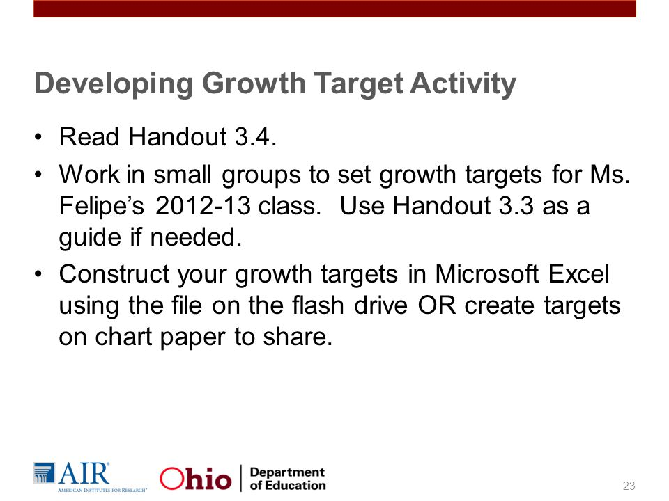 Read Handout 3.4.Work in small groups to set growth targets for Ms.