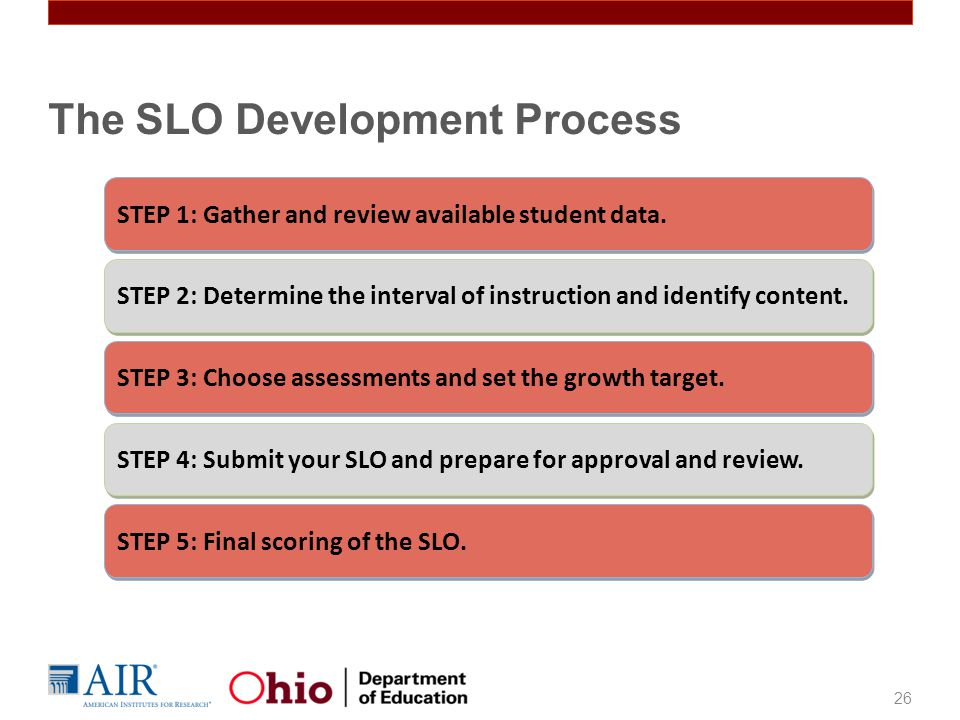 The SLO Development Process 26 STEP 1: Gather and review available student data.