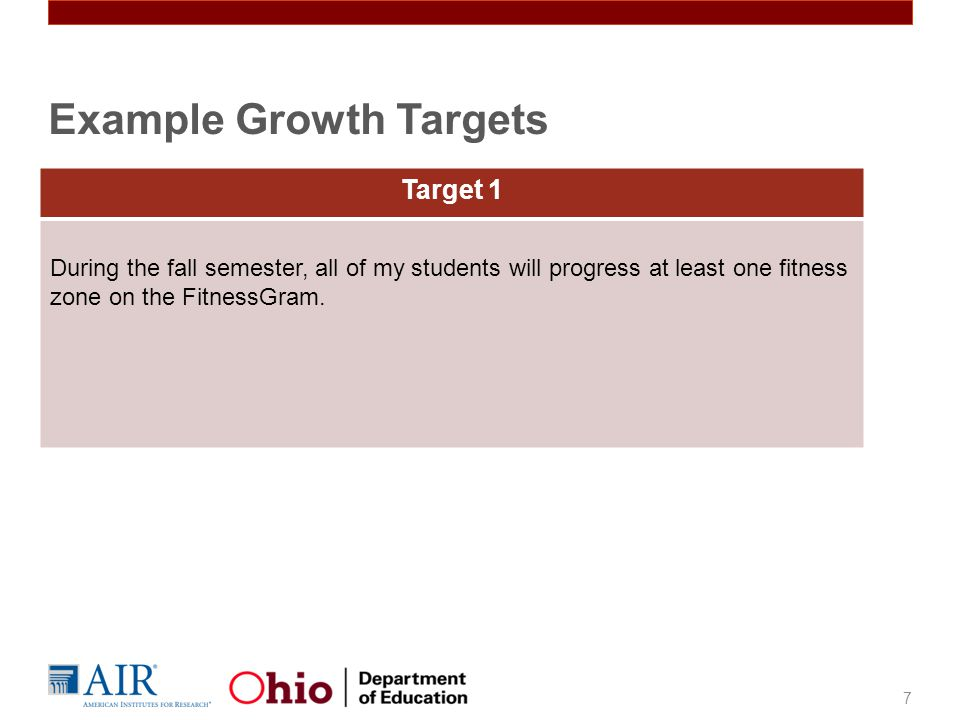 Target 1 During the fall semester, all of my students will progress at least one fitness zone on the FitnessGram.