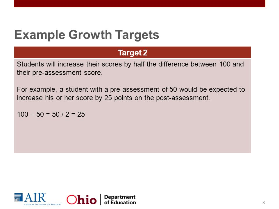 8 Target 2 Students will increase their scores by half the difference between 100 and their pre-assessment score.