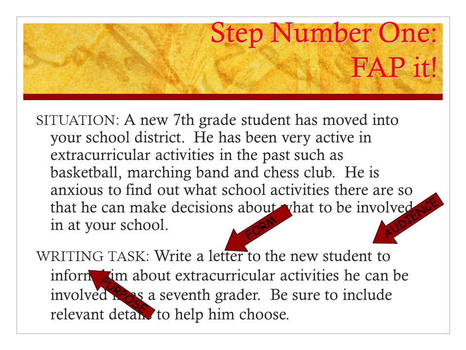 Step Number One: FAP it.SITUATION: A new 7th grade student has moved into your school district.