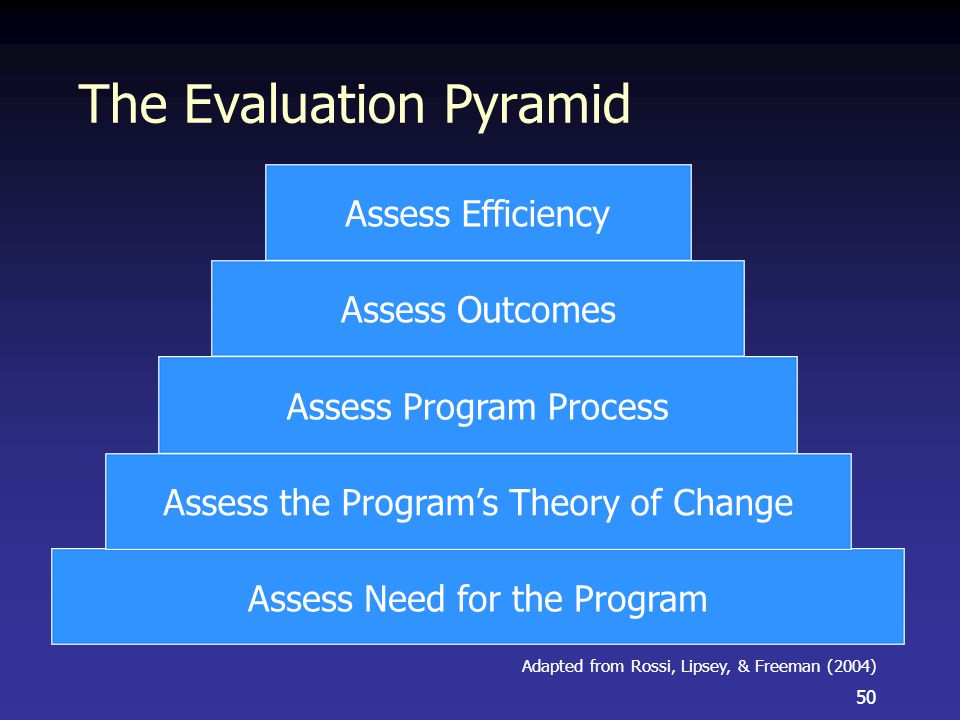 The Evaluation Pyramid 50 Assess Need for the Program Assess the Program's Theory of Change Assess Program Process Assess Outcomes Assess Efficiency Adapted from Rossi, Lipsey, & Freeman (2004)