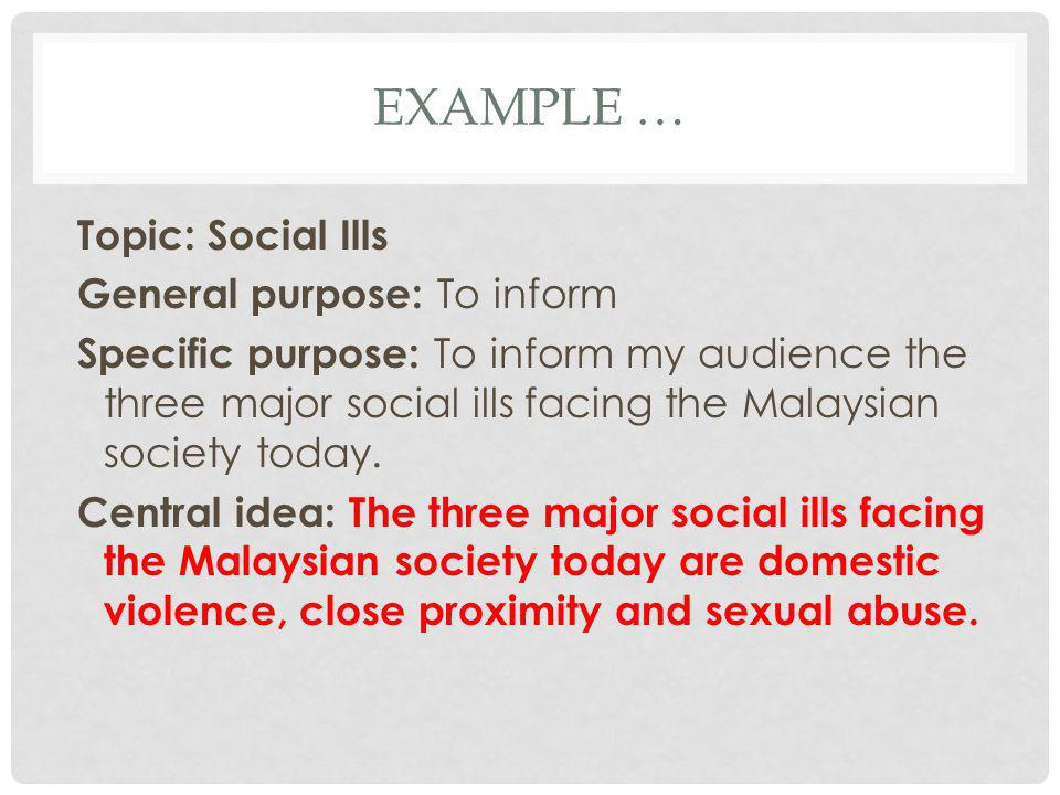 EXAMPLE … Topic: Social Ills General purpose: To inform Specific purpose: To inform my audience the three major social ills facing the Malaysian socie