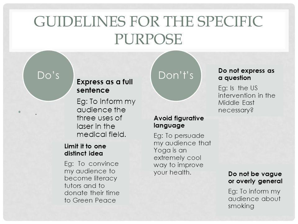 GUIDELINES FOR THE SPECIFIC PURPOSE. Express as a full sentence Eg: To inform my audience the three uses of laser in the medical field. Limit it to on