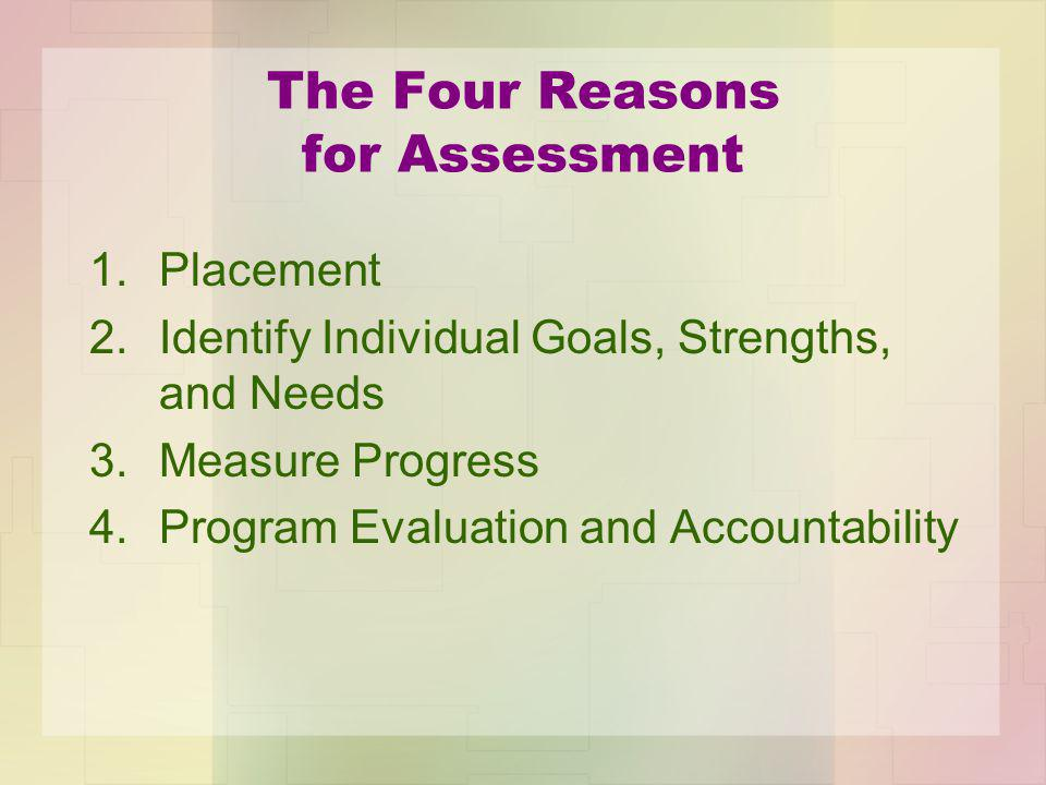 The Four Reasons for Assessment 1.Placement 2.Identify Individual Goals, Strengths, and Needs 3.Measure Progress 4.Program Evaluation and Accountability
