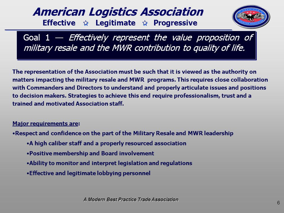 7 Effective Legitimate Progressive American Logistics Association The legitimacy of the Association rests with its ability to be viewed as a comprehensive marketplace representative with a balanced exposure to issues.