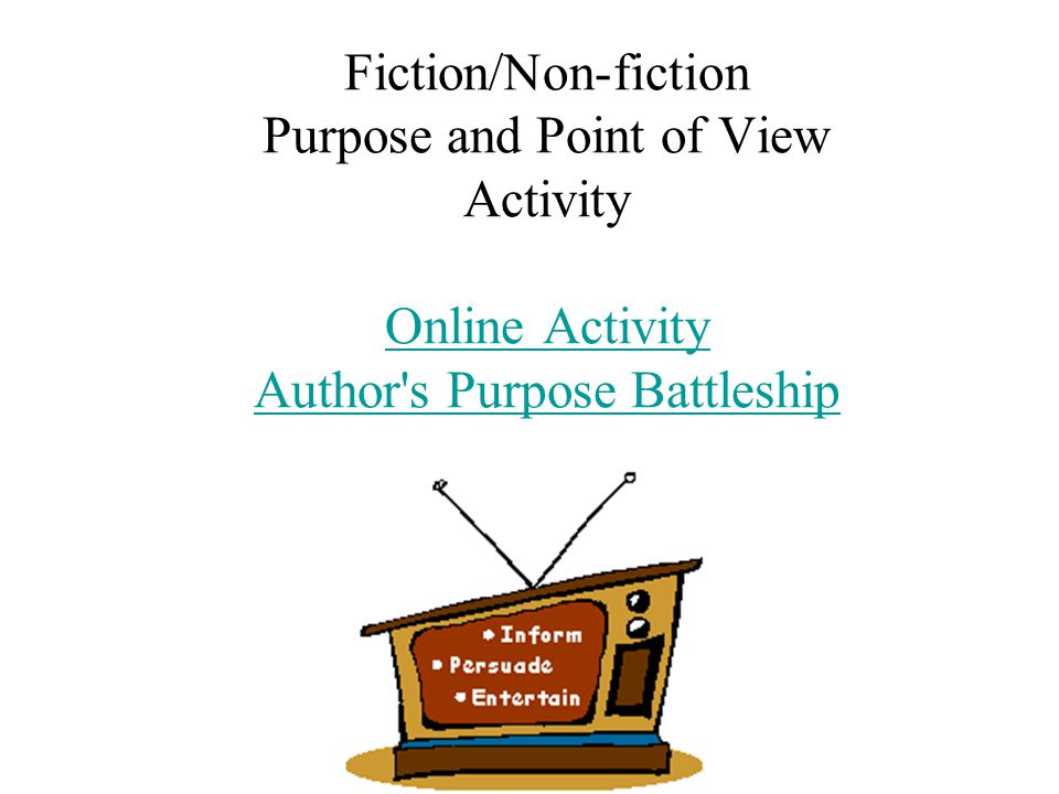 Fiction/Non-fiction Purpose and Point of View Activity Online Activity Author's Purpose Battleship Online Activity Author's Purpose Battleship