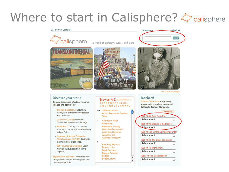 Where to start in Calisphere?