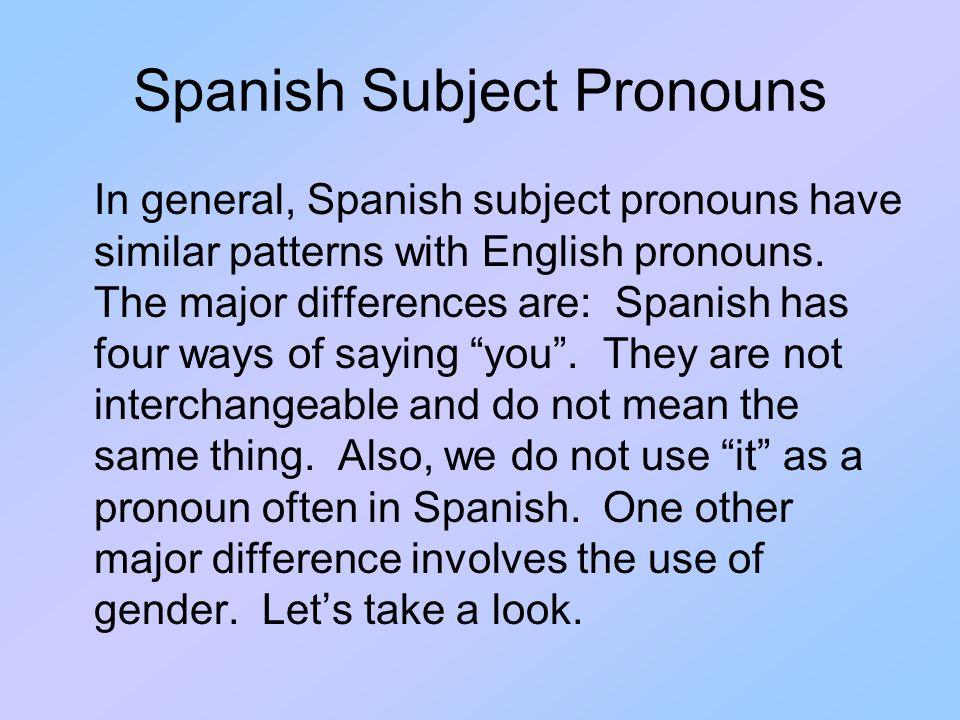 Spanish Subject Pronouns yo tú él ella Ud.