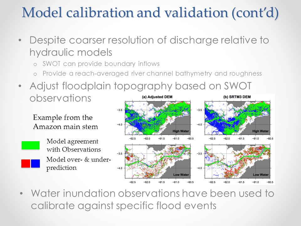 Model calibration and validation (cont'd) Despite coarser resolution of discharge relative to hydraulic models o SWOT can provide boundary inflows o P
