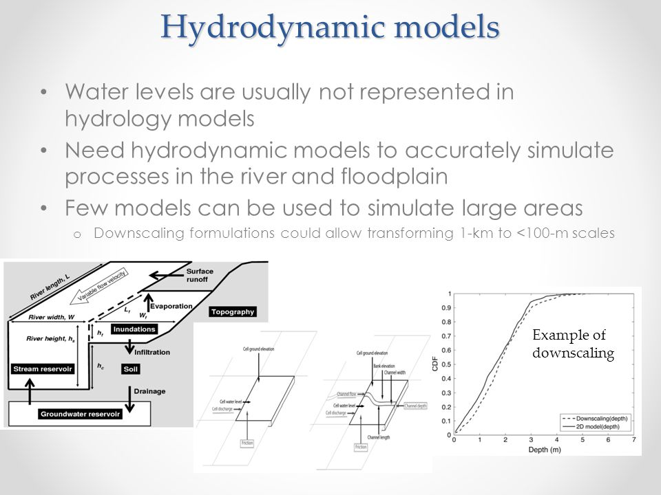 Hydrodynamic models Water levels are usually not represented in hydrology models Need hydrodynamic models to accurately simulate processes in the rive