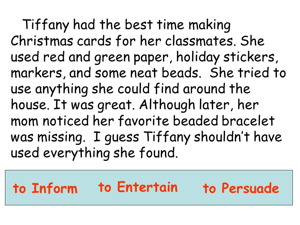 Tiffany had the best time making Christmas cards for her classmates. She used red and green paper, holiday stickers, markers, and some neat beads. She